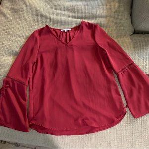 Ro & de bell sleeve blouse maroon red xs Nordstrom